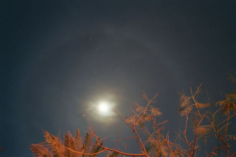 Mars and Lunar Halos 1 - by: Aymen Ibrahem (Canon 28mm, F2.8, 5 second exposure, Kodak Ultra 400)