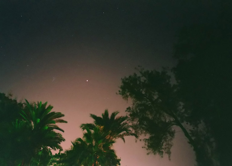 Red Planet and Trees - by: Aymen Ibrahem (Canon 28mm, F2.8, 20 second exposure, Kodak Ultra 400)