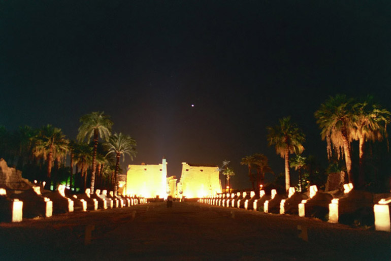 Venus Over Luxor Temple 3 - by: Aymen Ibrahem (Canon 28mm, F2.8, 1 second exposure, Kodak Ultra 400)
