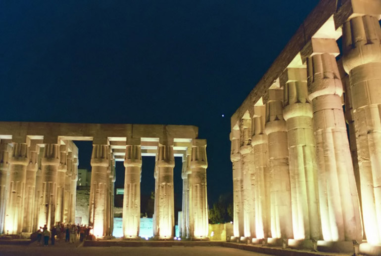 Venus Over Luxor Temple 1 - by: Aymen Ibrahem (Canon 28mm, F2.8, 1/2 second exposure, Kodak Ultra 400)