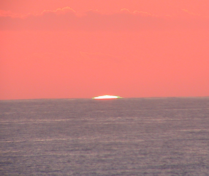 The hard to catch green flash of a California sunset - taken with a Nikon 995 through an Orion 120mm refractor