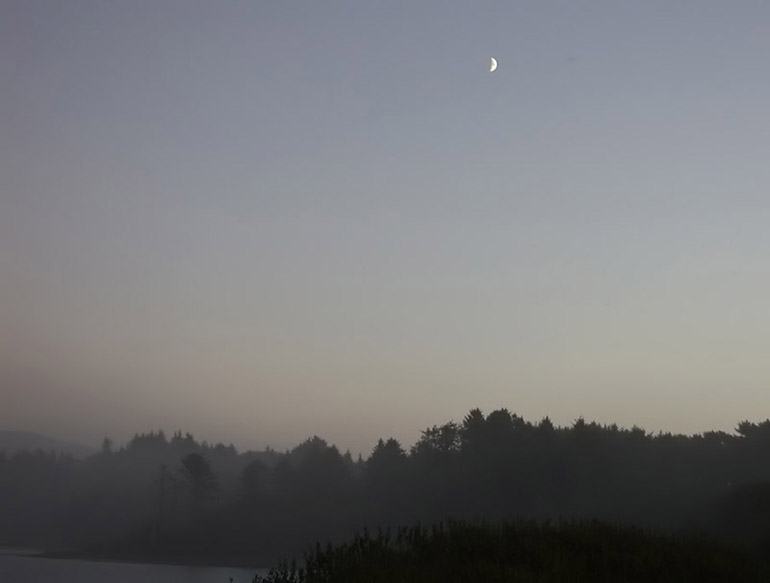 Quarter Moon Over Foggy Valley - South of Crescent City, California