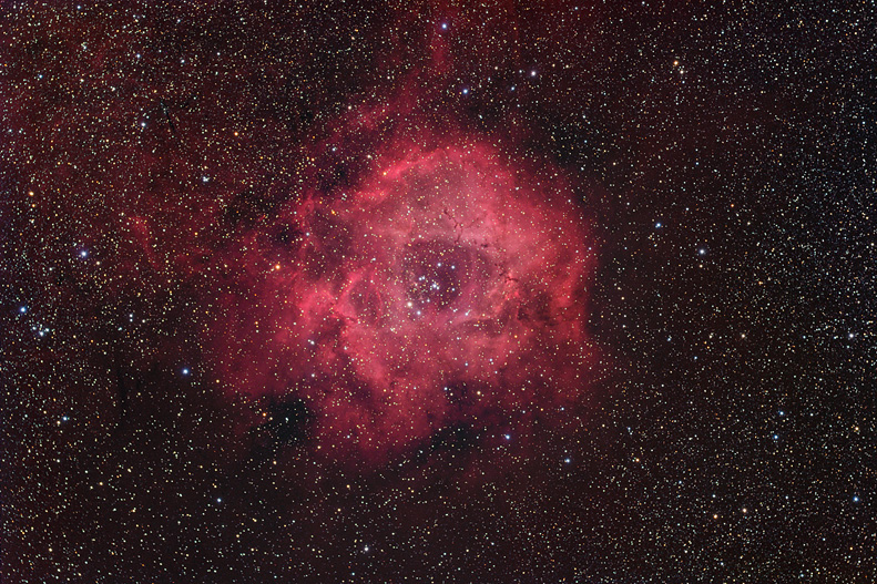 The Rosette Nebula in true color by Russell Croman - Image Copyright 2005, www.rc-astro.com