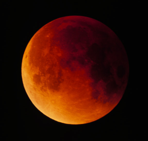 A Total Lunar Eclipse - The copper color is only seen during a total eclipse.