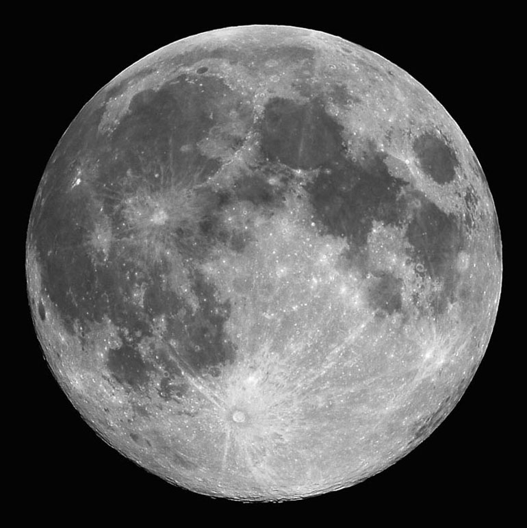 The Moon - with prominent features indicated