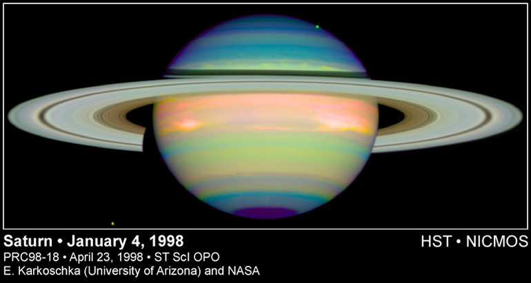 Saturn viewed by Hubble using Infra-Red Imagery