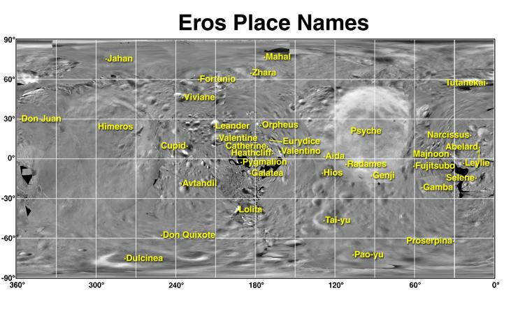 A map of Eros with data from the NEAR Shoemaker probe.