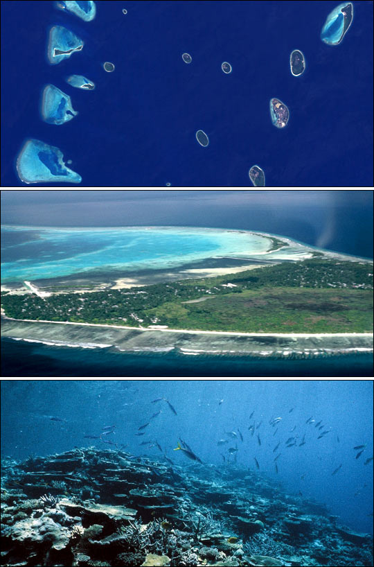 The Coral Atolls - from Space, Surface and Underwater