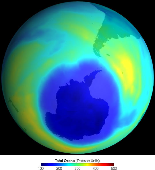 The ozone hole over Antarctica in 2001