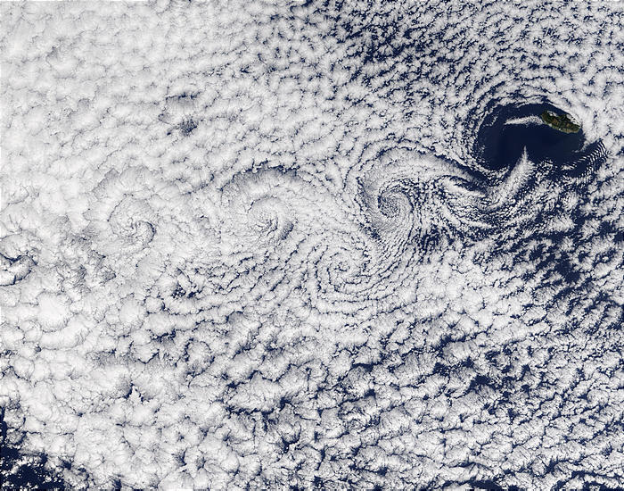 Vortex wind patters over the ocean.