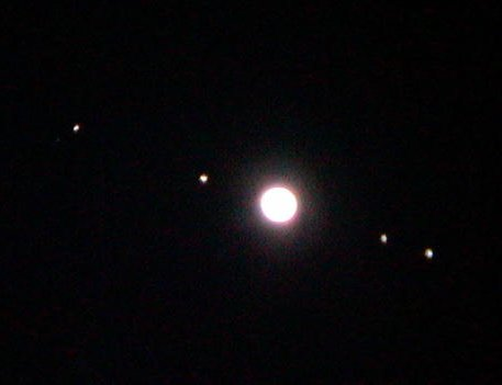 As Seen From A Small Telescope On Earth You May See Jupiter And Its Four Main Moons Like This