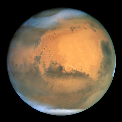 Mars as seen from the Hubble Space Telescope.