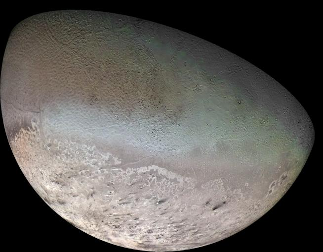 Neptune's only large moon Triton is similar to Pluto and has a distinctive cantaloupe appearance.