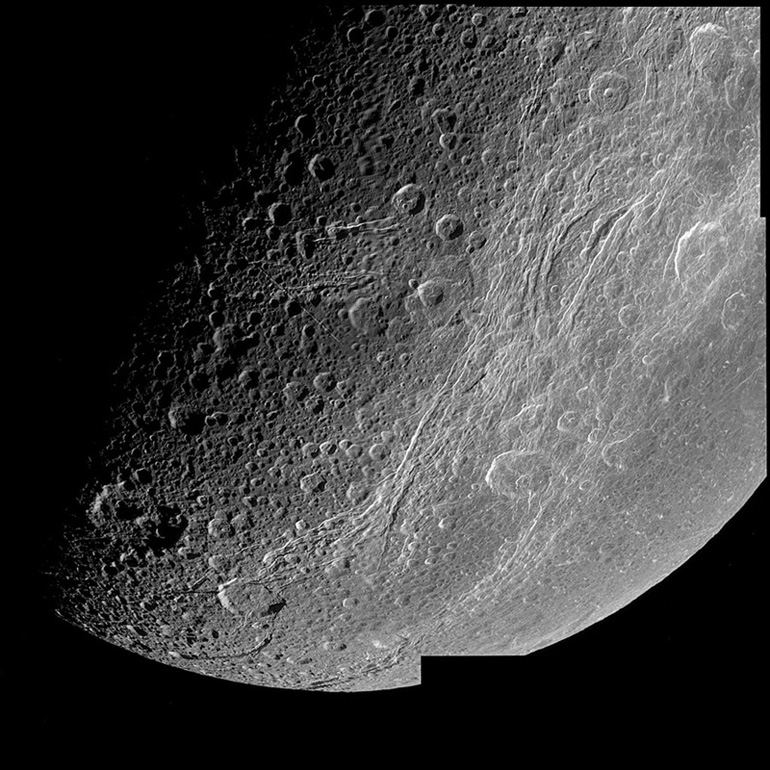 A Cassini high resolution image of Dione.