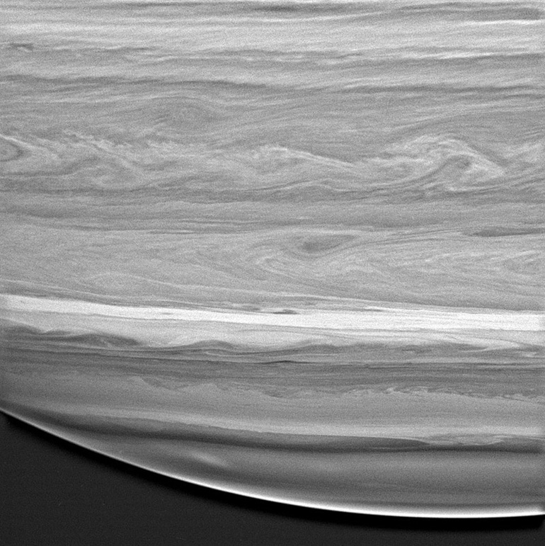 Jupiter or Saturn? The infrared image brings out the methane in Saturn's atmosphere