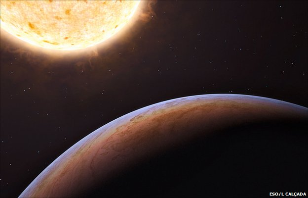 This artist's impression shows HIP 13044 b, an exoplanet orbiting a star that entered our galaxy, the Milky Way, from another galaxy